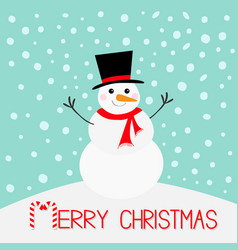 merry christmas snowman carrot nose hat red scarf vector image