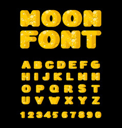 moon font yellow letters of moon texture alphabet vector image
