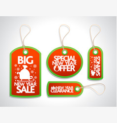 new year sale tags set red vector image