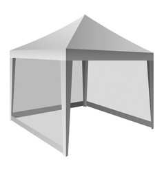 Outdoor white tent mockup realistic style vector