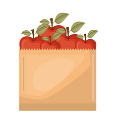 Paper bag with apple fruits vector