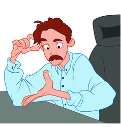 Pensive young male with a mustache sits in an vector