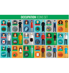 people of different occupations professions icons vector image
