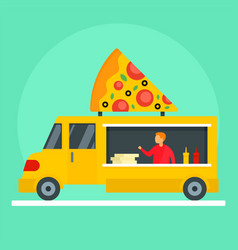 Pizza street market truck background flat style vector