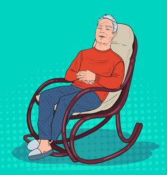 Pop art senior man sleeping in chair grandfather vector