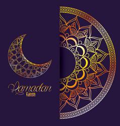 Ramadan kareem card with mandala and golden moon vector