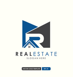 real esatate initial letter mr logo design vector image