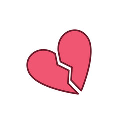 red broken heart creative icon vector image