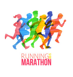 running marathon poster with colorful runner vector image