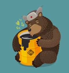 Russian bear hugging barrel of oil russia moscow vector