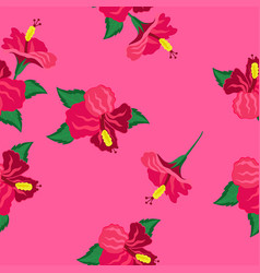 seamless texture with hibiscus vector image
