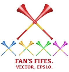 Set of fans pipes to support athletes at vector