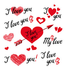 set of i love you hand lettering and elements vector image