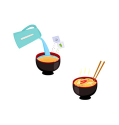 Set of images with step by step cooking vector