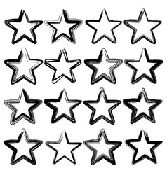 set of sixteen grunge stars brush strokes vector image