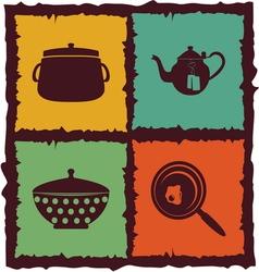 Set of Vintage kitchen elements Labels vector