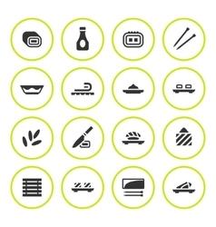 Set round icons of sushi vector image
