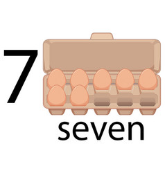 Seven eggs in carton vector