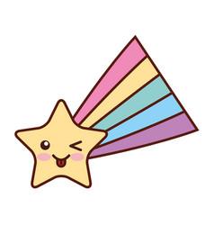 Shooting star kawaii character vector