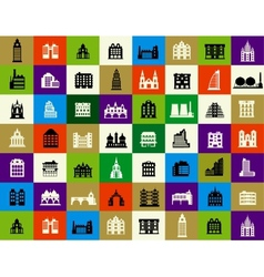 Silhouettes of city buildings vector image