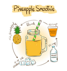 Sketch Pineapple smoothie recipe vector