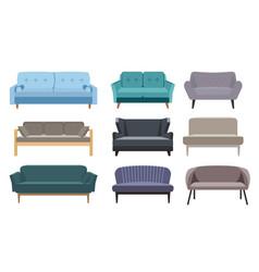 Sofa set collection sofa in flat style cartoon vector