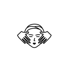 spa facial treatment with massage outline icon vector image