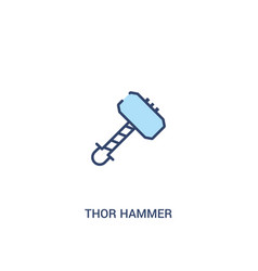 Thor hammer concept 2 colored icon simple line vector