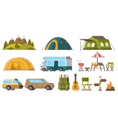 Traveling camping elements set vector
