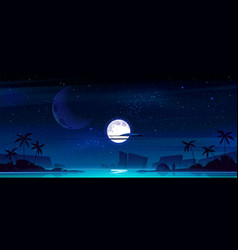 tropical landscape with sea bay at night vector image