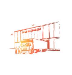 Truck delivering cargo unloading goods into vector