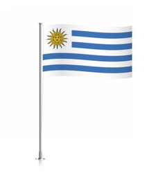 Uruguay flag waving on a metallic pole vector image