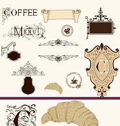 Vintage coffee set vector image
