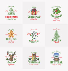 Vintage style christmas logos or labels template vector
