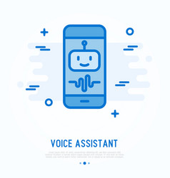 Voice assistant on smartphone thin line icon vector