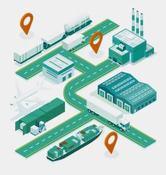 web template banner global logistics network vector image