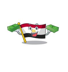 With money bag flag egypt folded in mascot vector