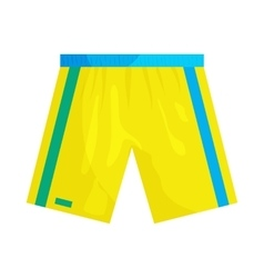 Yellow sports shorts icon cartoon style vector image