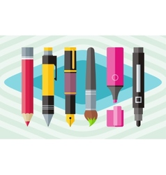 Big set engineering office pens and pencils vector image