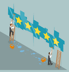 five star rating flat isometric concept vector image