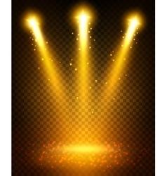 Golden spot light beams projection on floor vector image
