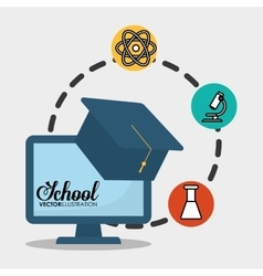 School computer graduation chemical vector