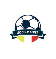 soccer fever ball ribbon footbal club emblem vector image