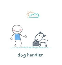 canine teaches the dog to bring a suitcase vector image