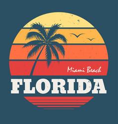 florida miami beach tee print vector image vector image