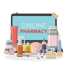Pharmacy background online store concept vector