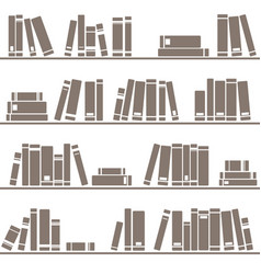 tile pattern with books on shelf on white vector image vector image