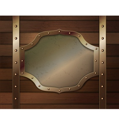 Wood background with metallic plate vector image vector image