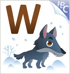 Animal alphabet for the kids W for the Wolf vector image vector image