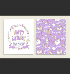 greeting card for happy birthday with unicorns vector image vector image